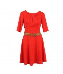 B Darlin Red Jacquad Lycra Dress Wt Tan Belt