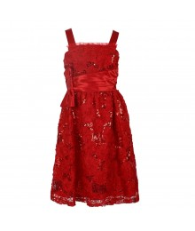 Rare Editions Red Sequin Soutache Spagh Dress