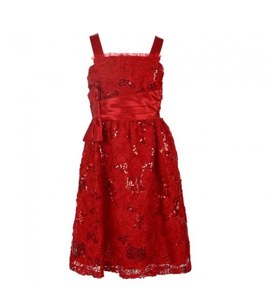 Rare Editions Red Sequin Soutache Spagh Dress