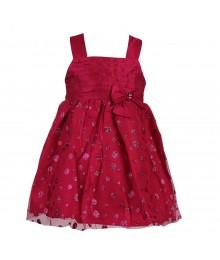 Sweet Heart Rose Fushcia Glitter Dot Mesh Wt Taffeta Little Girl