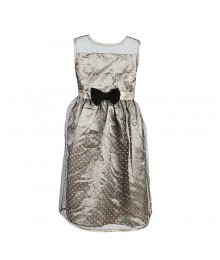 Penelope Mack Silver Polka Dot Overlay Sleeveless Dress