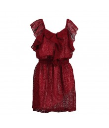 2 Hip Berry Lace On Pink Underlay Front Ruffle Dress