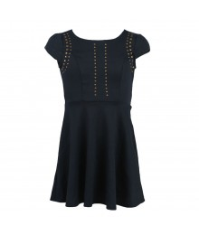 Monteau Girl Navy Ponte Skater Studded Dress