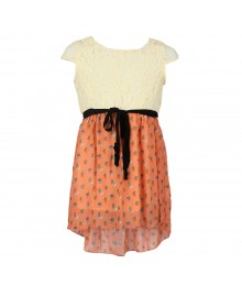 Monteau Girls Ivory Lace N Coral Chiffon Hi-Lo Dress