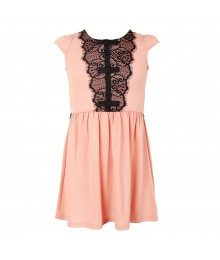 Monteau Girls Blush Pink Wt Black Lace Babydoll Dress