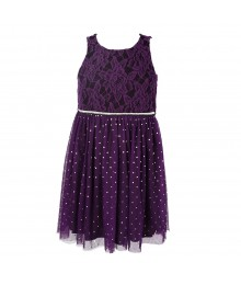 Bloome Purple Lace/Glitter Accented Tut-Skirted Dress