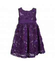 Rare Editions Purple Soutache/Sequined Dress