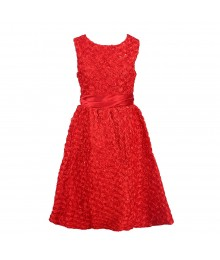 Rare Editions Red Dress With Small Allover  Rosette Soutache