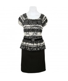 Amy Byer Black/Ivory Lace Peplum Dress