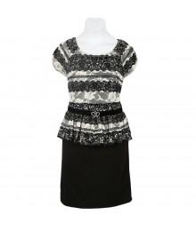 Amy Byer Black/Ivory Lace Peplum Dress