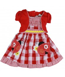 Youngland Red/White Seersucker Ladybug Dress Little Girl