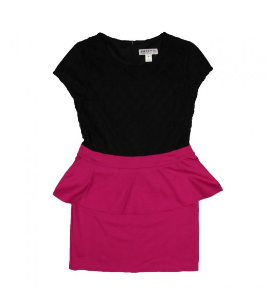 Sally M Black/Fush  Color Block Peplum Dress Big Girl