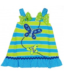 Youngland Turq/Lemon Stripped Butterfly Appliq Sundress