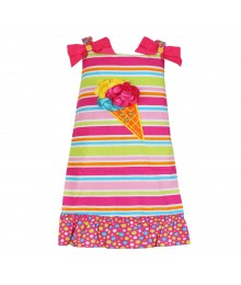 Youngland Pink Multi Stripped Ice Cream Appliq Sundress
