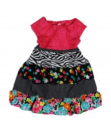 Youngland Black/Fush Multi Crocheted Tiered Dress Little Girl