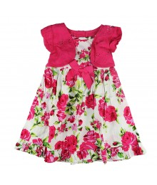 Sophie Rose Fush Floralsundress Wt Eyelet Bolero Little Girl