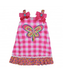 Youngland Pink Multi Stripped Butterfly Appliq Sundress