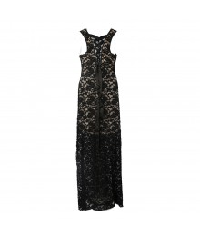 Honey And Rosie Black Lace Illusion Maxi Dress Wt Bude Underlay