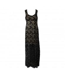 Honey And Rosie Black Lace Illusion Maxi Dress Wt Bude Underlay