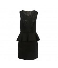 Gb Black Beaded Peplum Dress Wt Cut Out Back