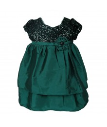 Bonnie Jean Teal/Green Sequin Bodice Tafetta Dress