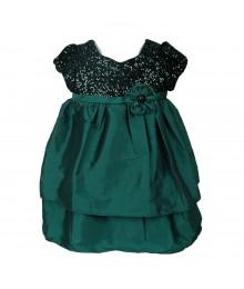 Bonnie Jean Teal/Green Sequin Bodice Tafetta Dress