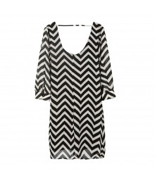 Soul Mates Black/White Chevron Chiffon Dress