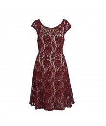 Love Fire Wine Bow Back Embelished Lace Dress