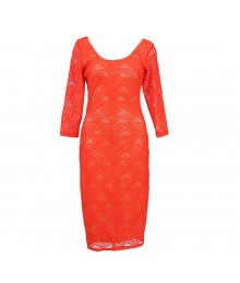 Love Fire Coral Geometric Lace Midi Dress