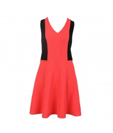 Bebop Coral/Black Knit Colour Block Dress