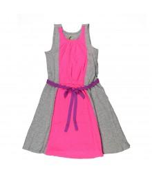 Total Girl Pink/Grey Colorblock Flared Dress