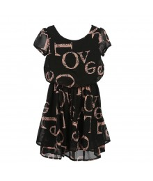 Disorderly Kids Black Tiered Chiffon Dress Wt Pink Love Print
