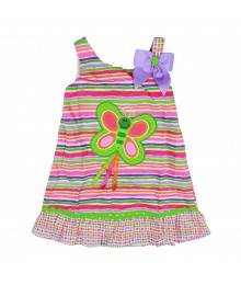 Youngland Multi Stripe Butterfly Dress Little Girl
