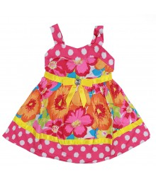 Youngland  Fuchsia/Yellow Floral  Polka-Dot Poplin Sundress