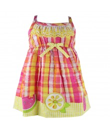 Youngland Pink/Orange Seersucker Sundress Baby Girl