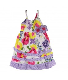 Blueberi Boulevard White/Purple Floral Sundress