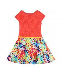 Youngland Coral/Muilti Crochet 7 Dot Dress