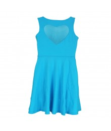 S0 Turq Heart Cutout Skater Dress Big Girl
