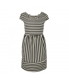 Monteau Black/White Striped Dress