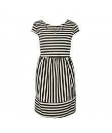 Monteau Black/White Striped Dress