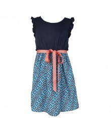Soprano Navy Cap Sleeve Printed Skirt Dress  Big Girl