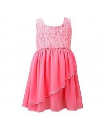 Bonnie Jean Neon Pink Burnout Wrap Dress