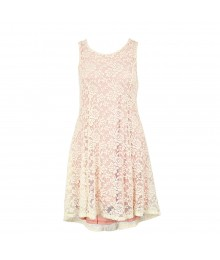 Sophia+Zeke White Lace Wt Pink Underlay Dress