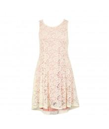 Sophia+Zeke White Lace Wt Pink Underlay Dress