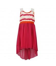 Bonnie Jean Fush/White Striped/Solid Hi-Low Dress