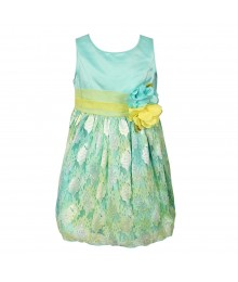 Sweet Heart Rose Aqua Multi Watercolor Lace Dress Little Girl