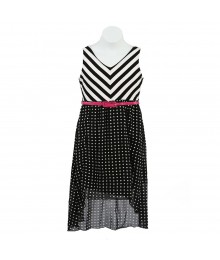 Rare Edition White/Black Chevron Wt Polka Dot High Low Girls Dress