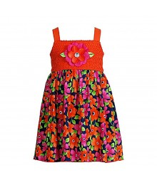 Sweet Heart Rose Orange/Navy Pink Crochet Sundress Wt Petals Little Girl