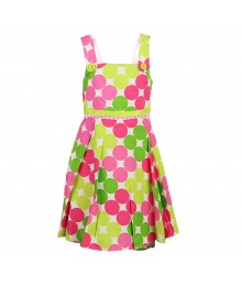 Bonnie Jean Pink/Lemon Dotted Cut-Out Back Sndress