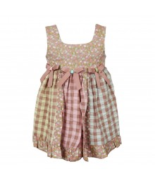 Bonnie Jean Brown Multi Seer Sucker Sun Dress Little Girl